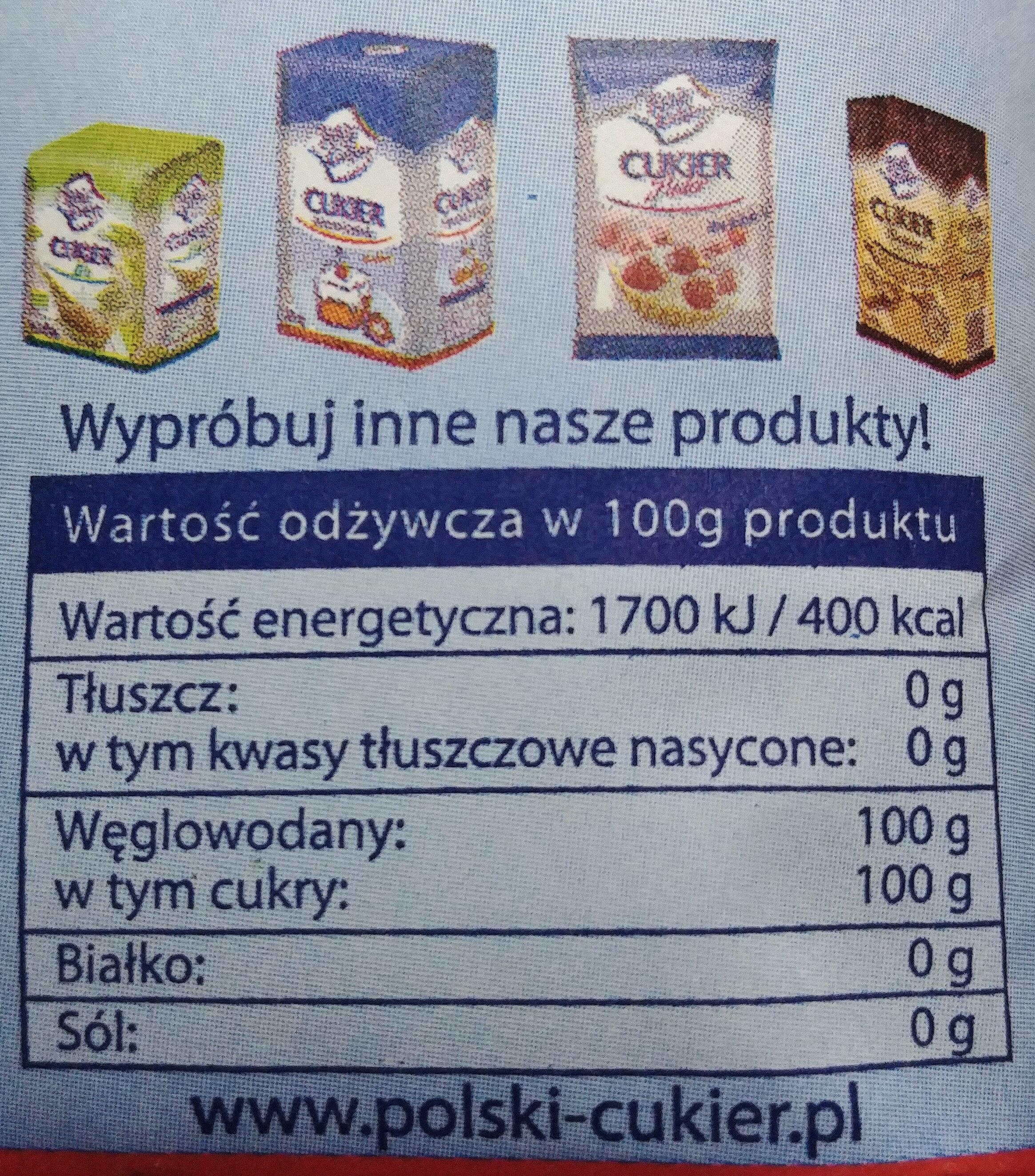 Cukier biały - Wartości odżywcze - pl