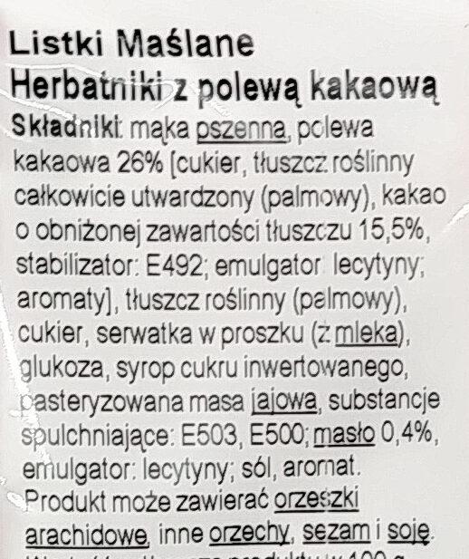 Listki Maślane. Herbatniki z polewą kakaową. - Składniki - pl