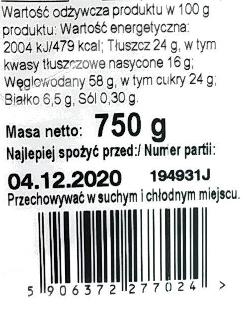 Listki Maślane. Herbatniki z polewą kakaową. - Wartości odżywcze - pl