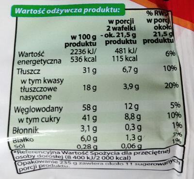 Wafelki z kremem kawowym w czekoladzie (43%). - Nutrition facts