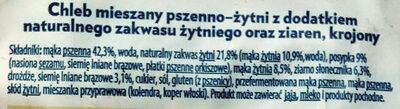 Chleb mieszany pszenno-żytni z dodatkiem naturalnego zakwasu żytniego oraz ziaren, krojony. Złoty łan - Składniki