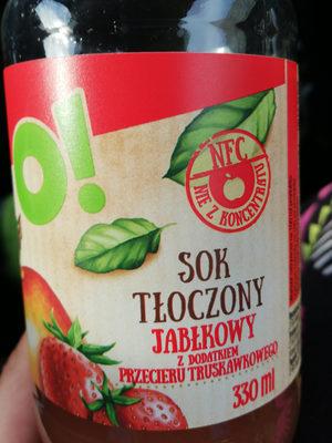 Sok tłoczony jabłkowy z dodatkiem przecieru truskawkowego - Produkt - pl