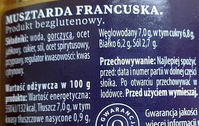 Musztarda francuska - Informations nutritionnelles - pl