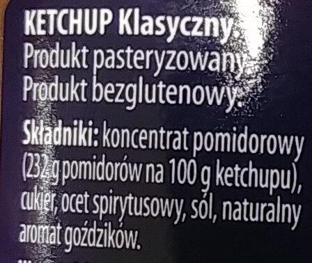 Ketchup classic - Ingrédients - pl