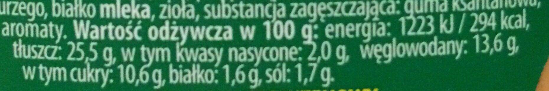 Sos Hamburger - Nutrition facts - pl