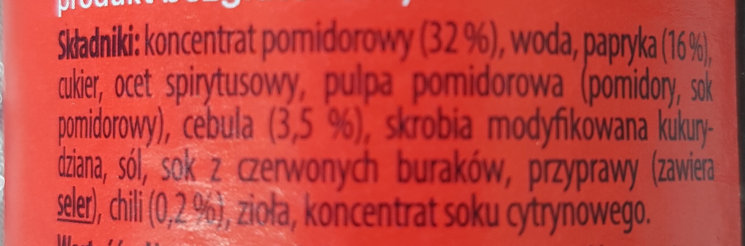 Sos chilli pikantny - Składniki - pl