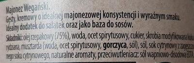 Majonez Wegański - Ingrédients - pl