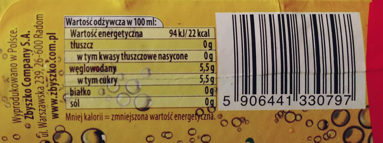 Napój gazowany tonic - Wartości odżywcze