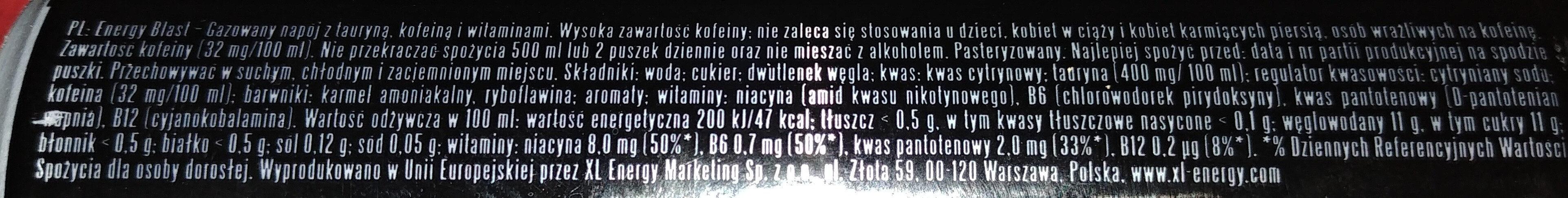Gazowany napój z tauryną, kofeiną i witaminami - Składniki - pl