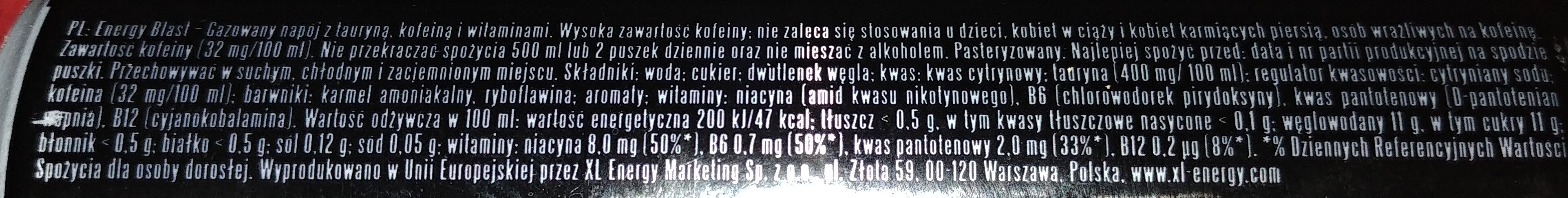 Gazowany napój z tauryną, kofeiną i witaminami - Wartości odżywcze - pl