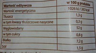 Chleb Kamyśnisk krojony - Wartości odżywcze