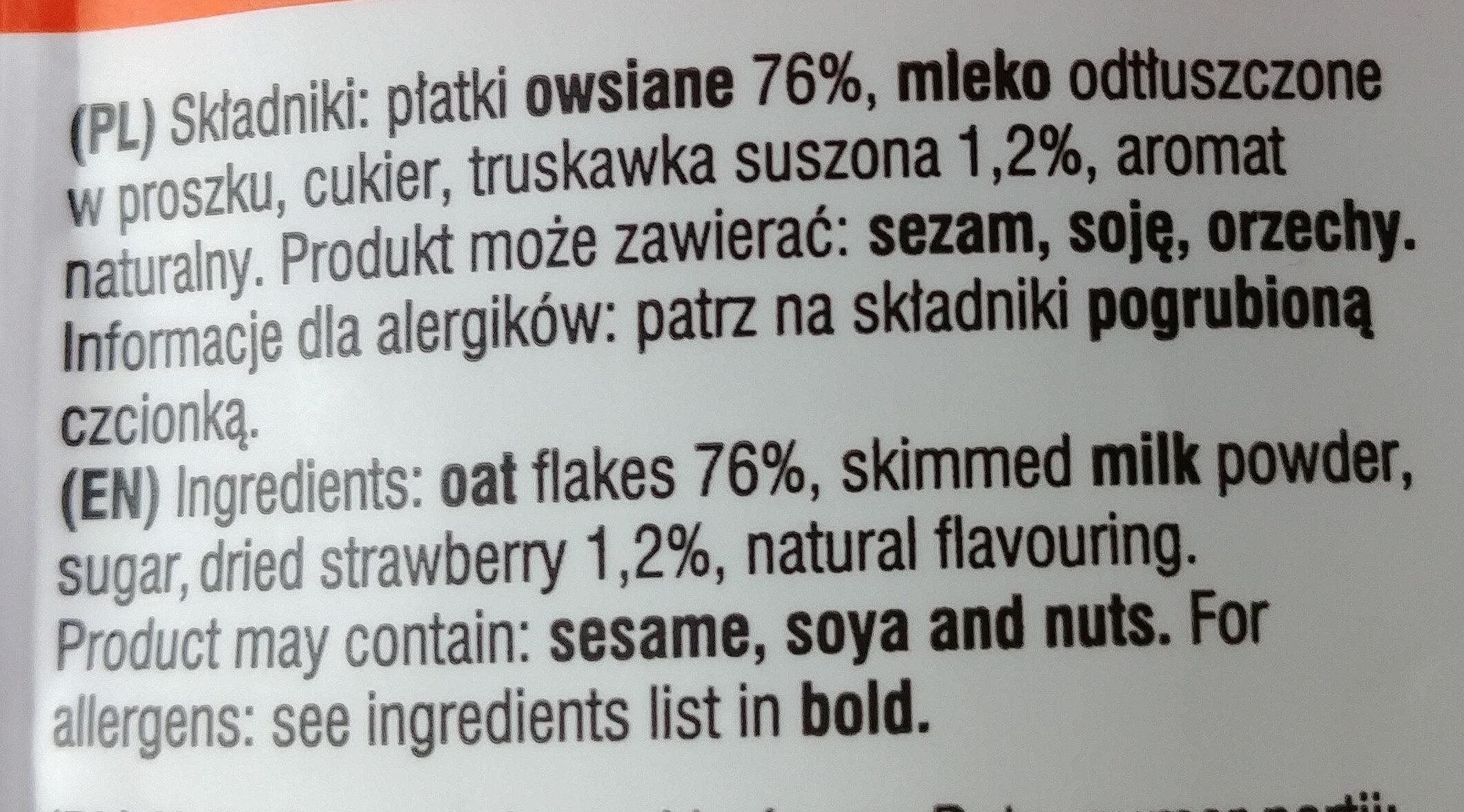 Owsianka z truskawkami - Składniki - pl