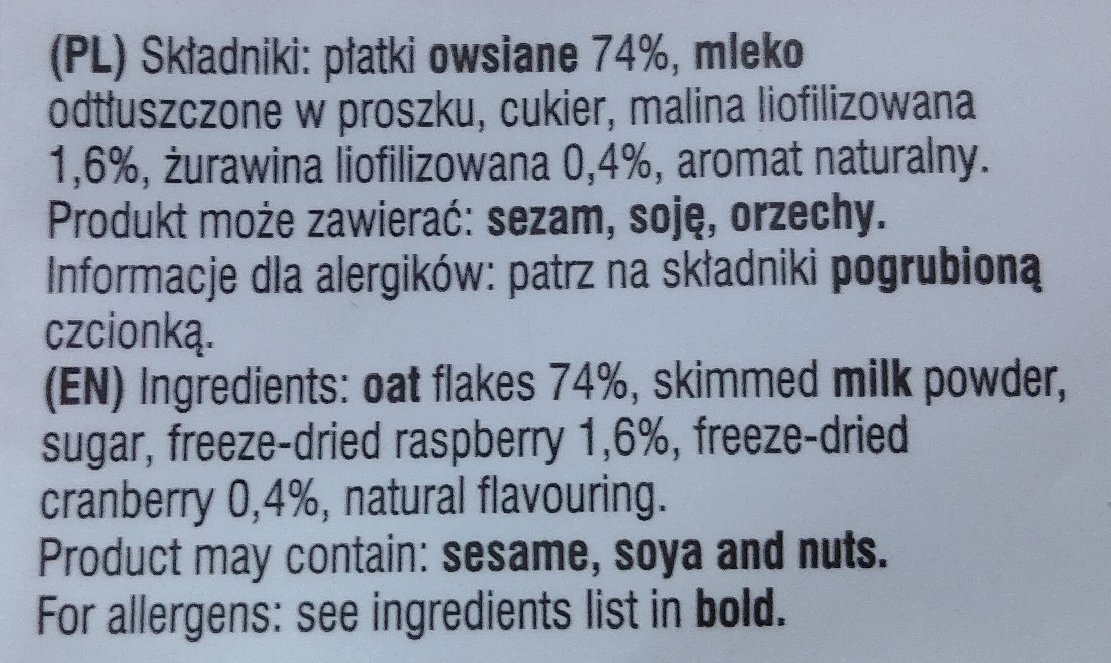 Owsianka z maliną i żurawiną - Ingredients