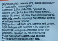 Owsianka z jabłkiem i cynamonem - Ingrediënten - pl