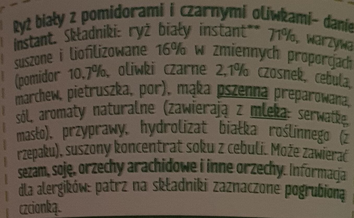 Ryż z pomidorami i oliwkami - Składniki - pl