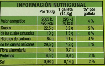 Digestive Go - Fontaneda - 171 Grammes (6x2galletas) - Información nutricional - es