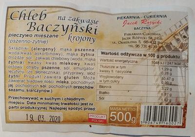 Chleb Baczyński na zakwasie krojony. - Produkt - pl