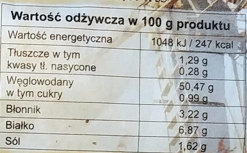 Chleb Baczyński na zakwasie krojony. - Wartości odżywcze - pl