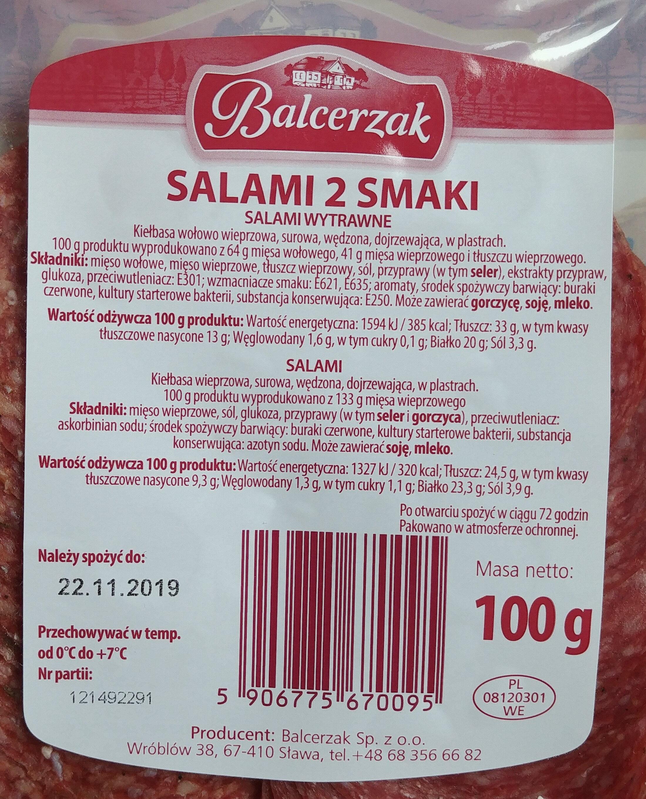 Salami 2 smaki. (Salami wytrawne, Salami) - Wartości odżywcze