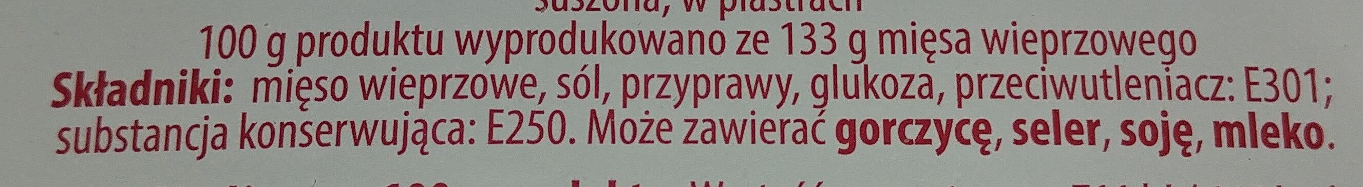Kiełbasa krakowska sucha - Ingrediënten - pl
