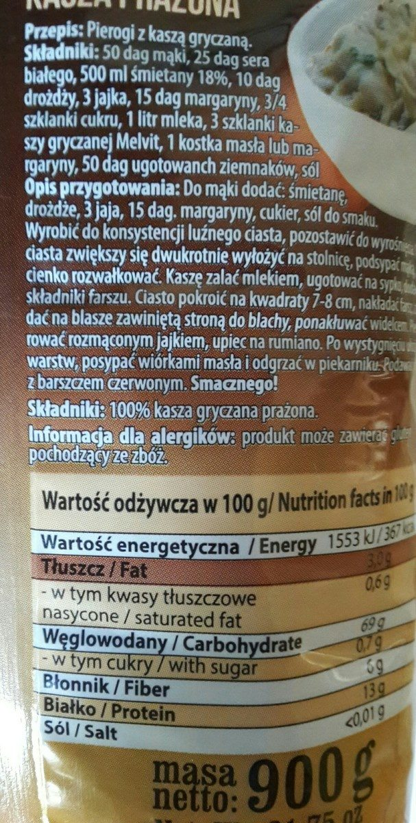 Roasted Buckwheat Kasza Gryczana Prażona - Ingrédients - fr