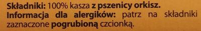 KASZA Orkiszowa Premium - Ingrédients - pl