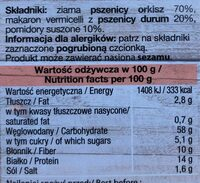 TRENDY LUNCH Premium Orkisz, Vermicelli, Pomidory - Nutrition facts