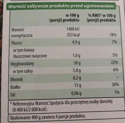 Kasza gryczana prażona - Informations nutritionnelles