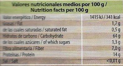 Trendy Lunch lentejas verdes con bulgur y cebada - Informations nutritionnelles - es