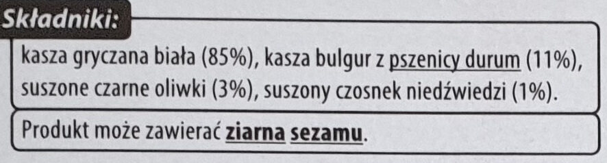 Natural Mix - Kasza gryczana biała, Bulgur, Oliwki - Ingrédients - pl