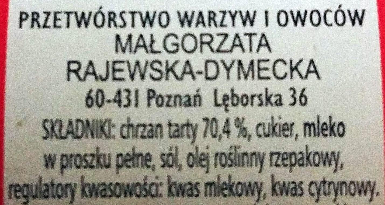 Chrzan wyborowy bez octu - Składniki - pl
