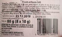 Biscuits et Puzzle Cars - Ingrédients - fr