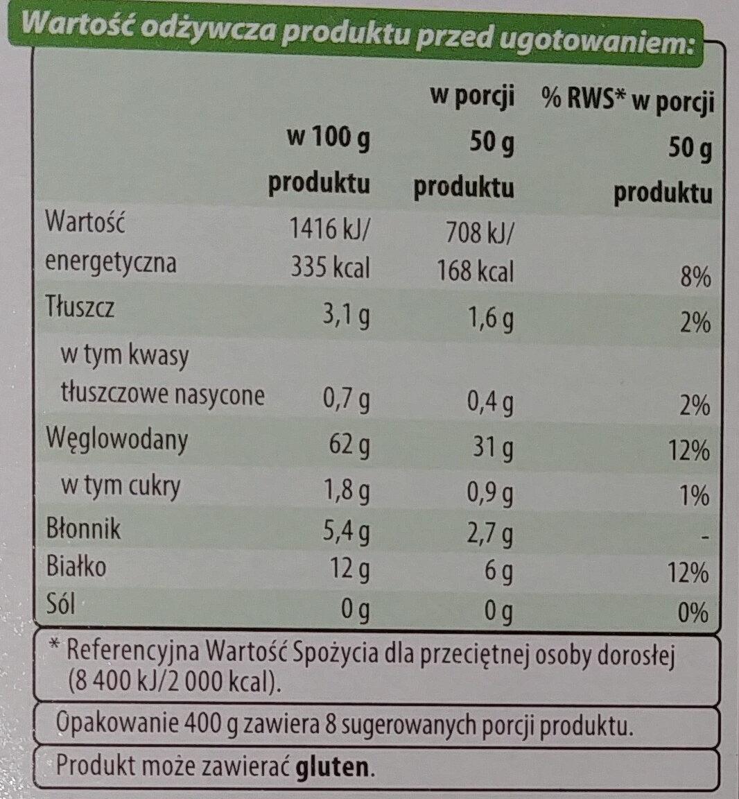 Kasza gryczana biała - Informations nutritionnelles - pl