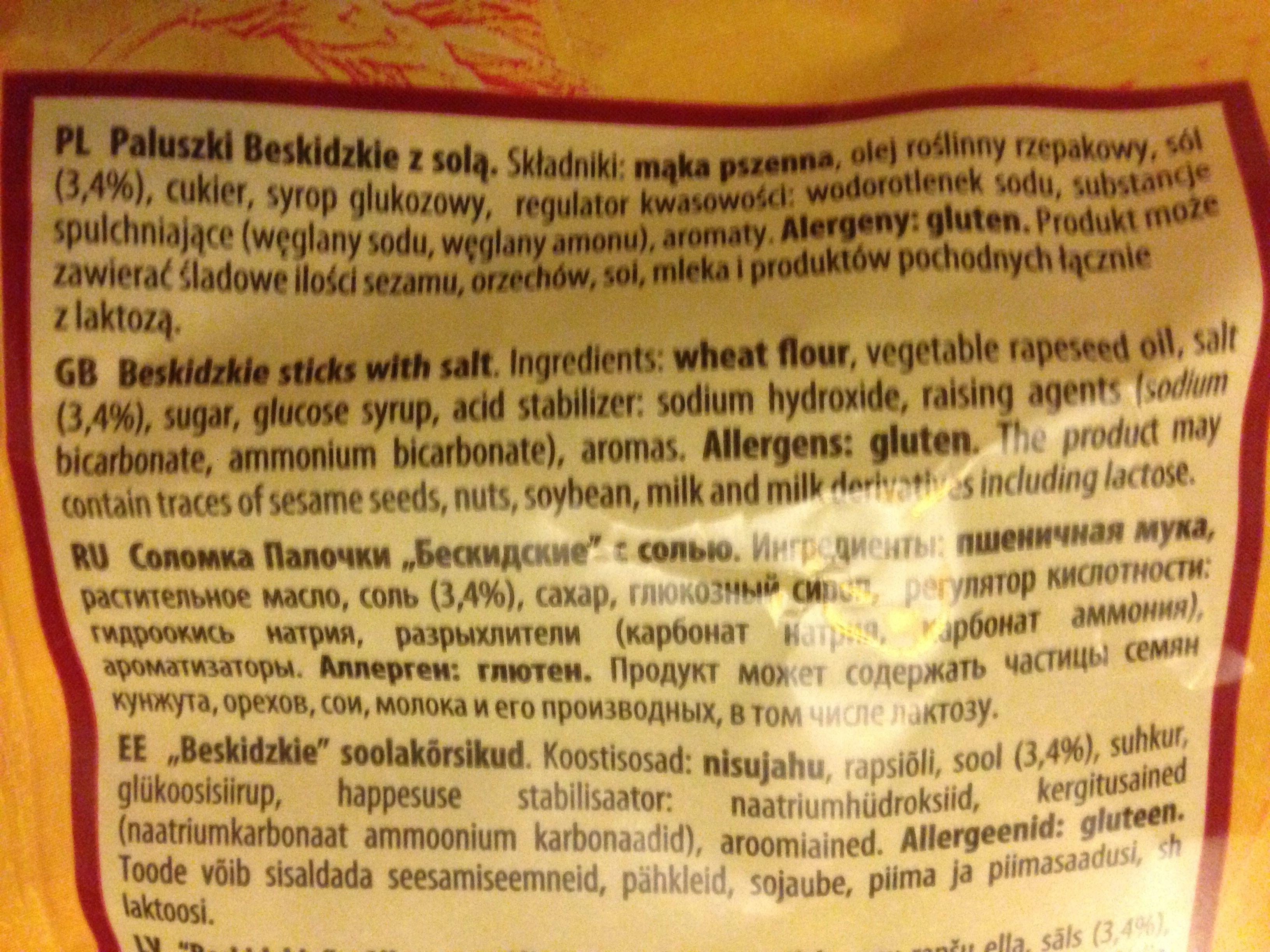 Paluszki solone - Ingredients