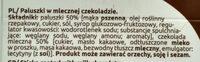 Paluszki w mlecznej czekoladzie - Składniki - pl