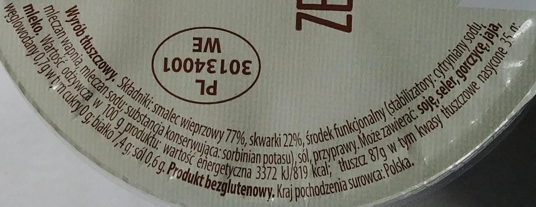 Smalec ze skwarkami - Nutrition facts - pl