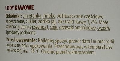 Lody kawowe - Składniki - pl