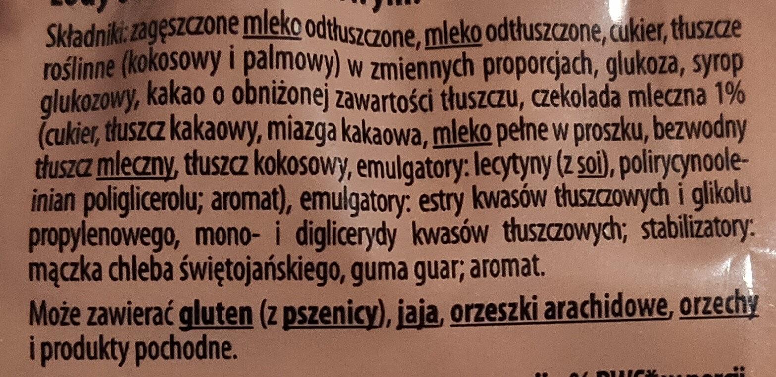 Lody o smaku czekoladowym - Ingredients - pl