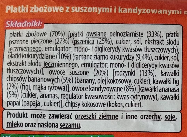 Płatki zbożowe z suszonymi i kandyzowanymi owocami. - Ingredients - pl