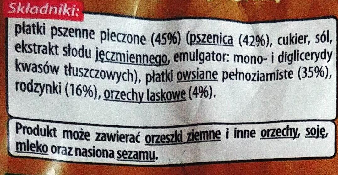 Mieszanka płatków zbożowych z rodzynkami i orzechami laskowymi - Składniki - pl