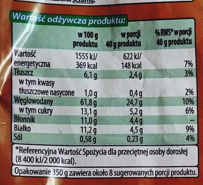 Mieszanka płatków zbożowych z rodzynkami i orzechami laskowymi - Wartości odżywcze - pl