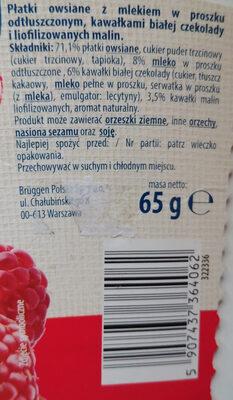 Płatki owsiane z mlekiem w proszku odtłuszczonym, kawałkami białej czekolady i liofilizowanych malin. - Składniki - pl