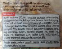 Mieszanka płatków zbożowych z suszonymi owocami oraz kawałkami prażonych orzeszków laskowych - Składniki - pl