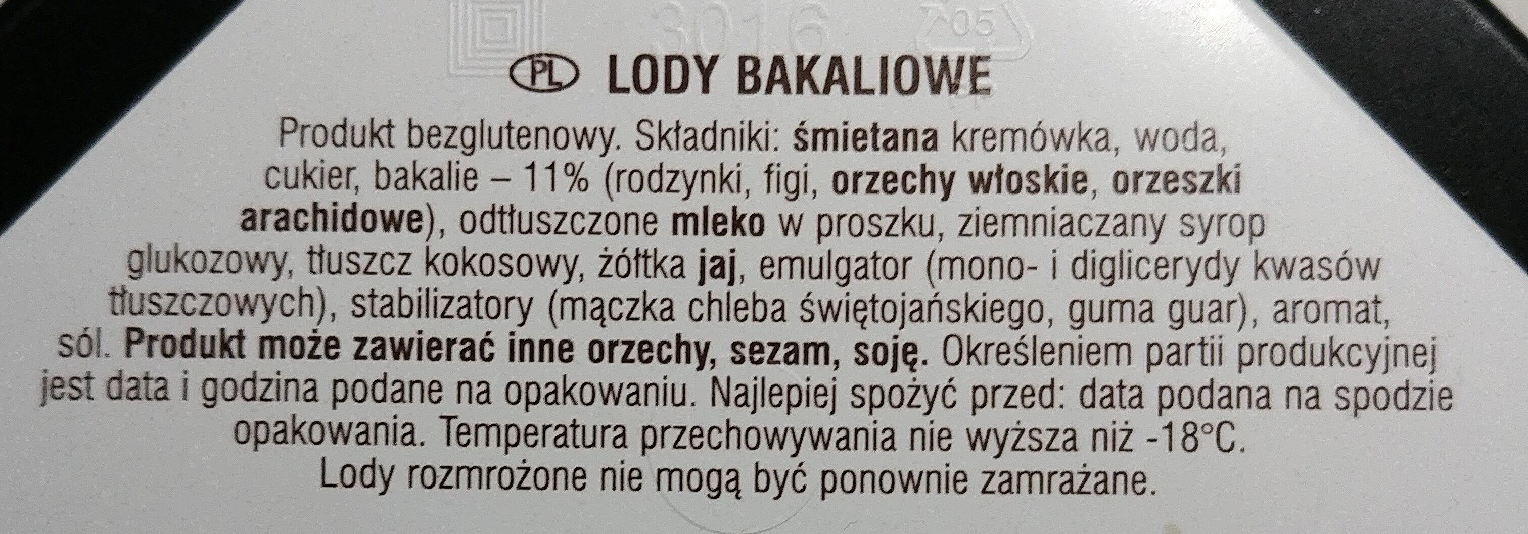 Lody bakaliowe - Składniki - pl
