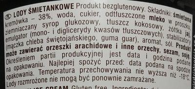 Lody śmietankowe - Składniki - pl