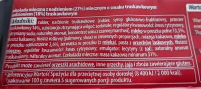 Czekolada Mleczna Nadziewana Truskawkowa - Ingrédients - pl