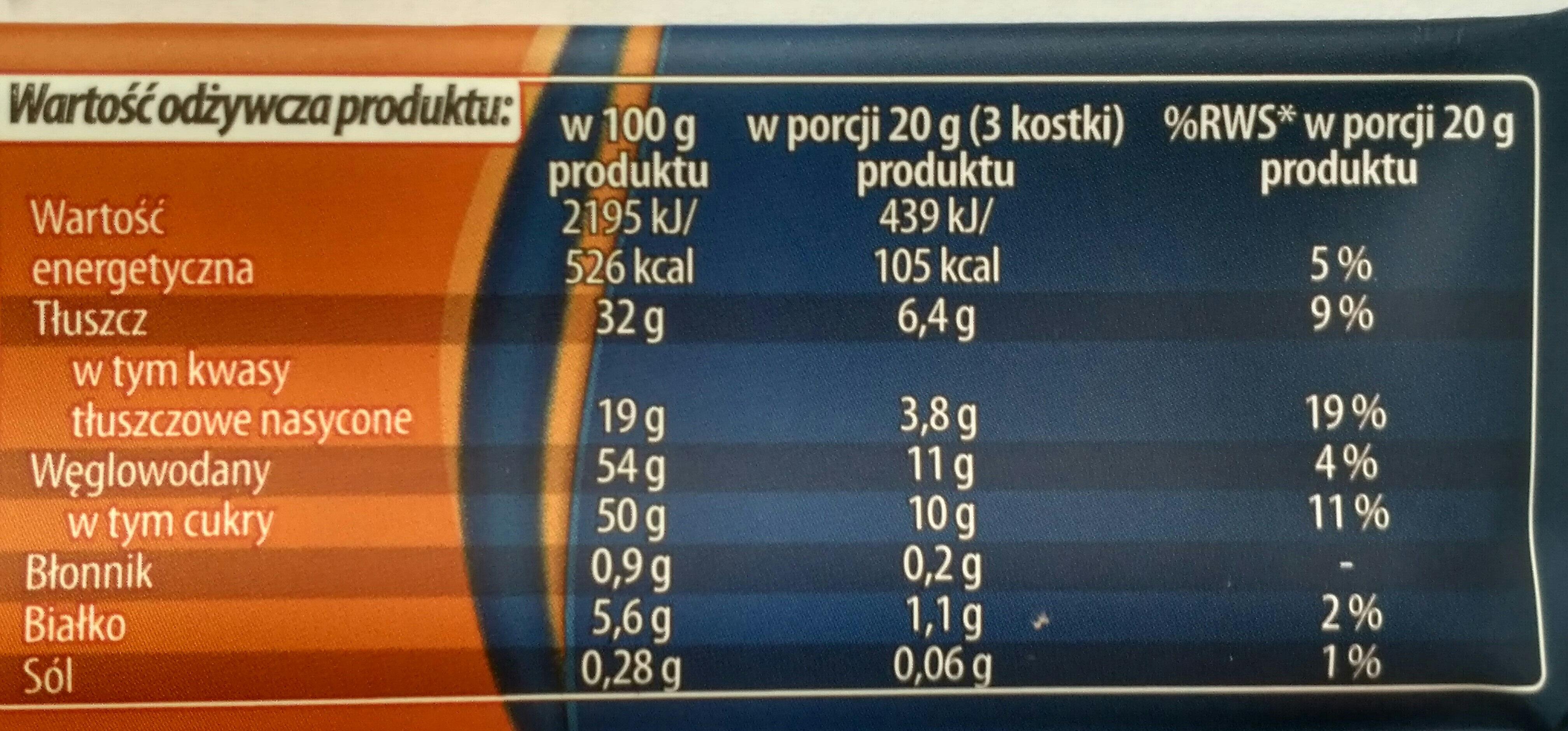 Czekolada mleczna - Informations nutritionnelles - pl