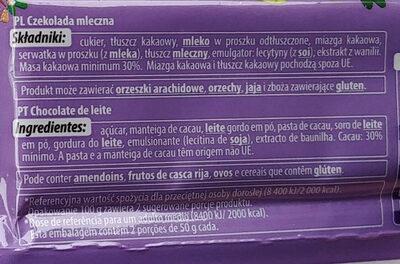 Czekolada mleczna - Ingrédients - pl