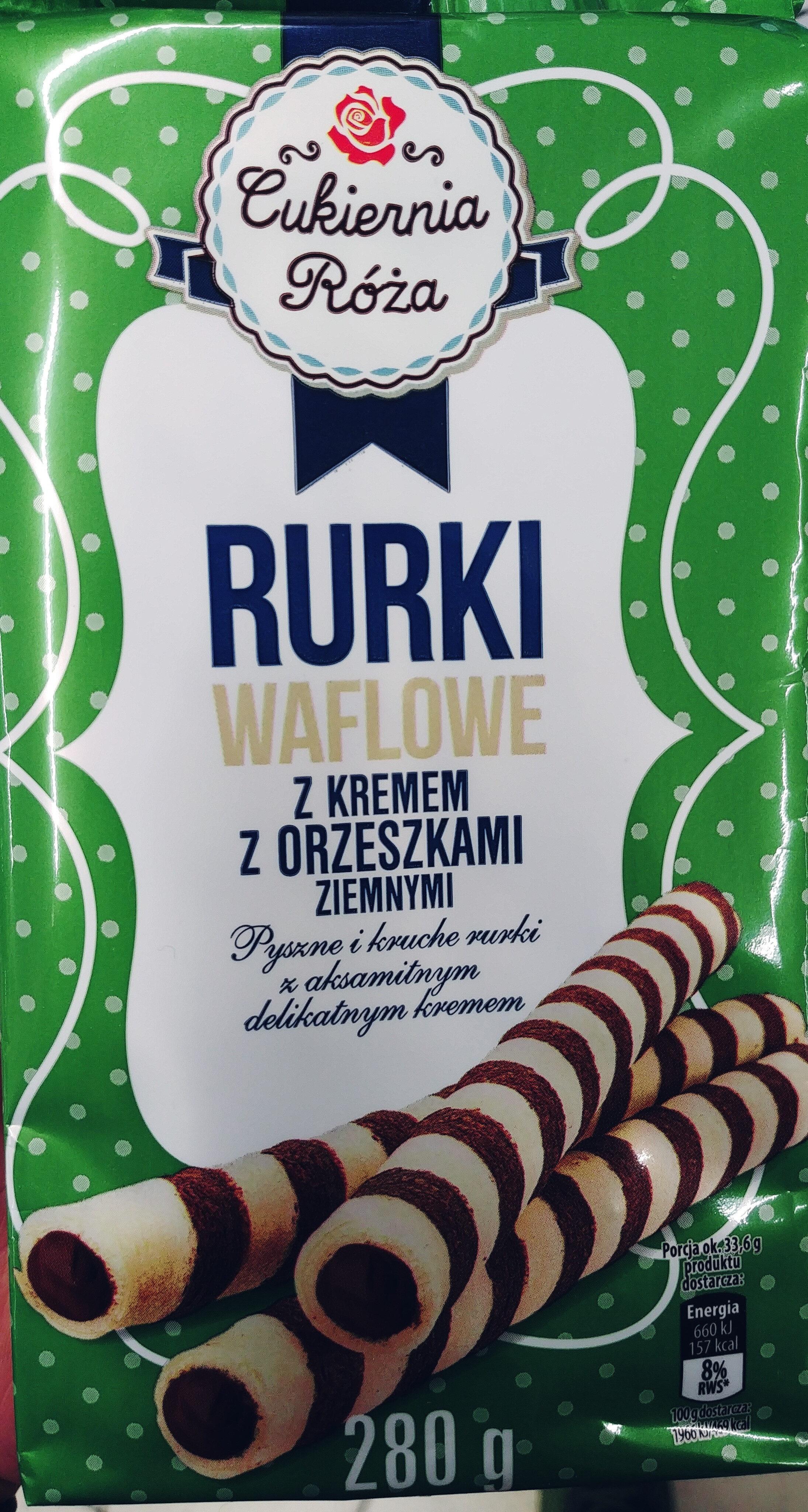 Rurki waflowe z kremem z orzeszkami ziemnymi (60%). - Produkt - pl
