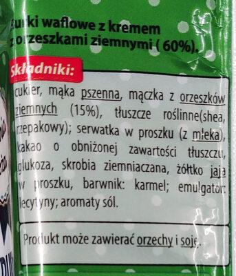 Rurki waflowe z kremem z orzeszkami ziemnymi (60%). - Składniki - pl